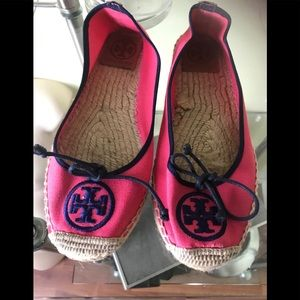 Tory Burch Weston Espadrille Canvas Leather Pink